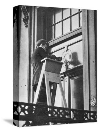 'Removing German emblems from German Embassy, Carlton House Terrace, London', 1914-Unknown-Stretched Canvas Print
