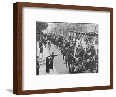 'French cuirassiers riding through the streets of Paris on their way on the front', 1914-Unknown-Framed Photographic Print