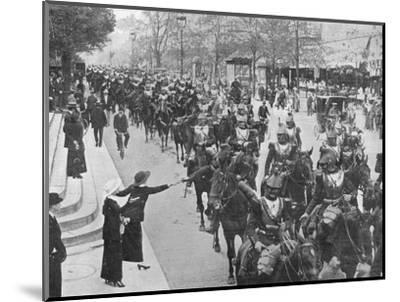 'French cuirassiers riding through the streets of Paris on their way on the front', 1914-Unknown-Mounted Photographic Print