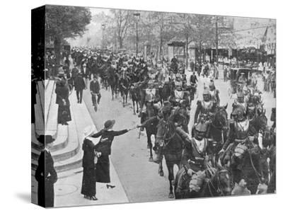'French cuirassiers riding through the streets of Paris on their way on the front', 1914-Unknown-Stretched Canvas Print