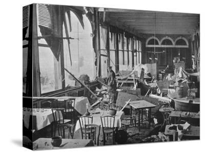 'The interior of the Grand Hotel, showing the damage done by the bombardment', 1914-Unknown-Stretched Canvas Print