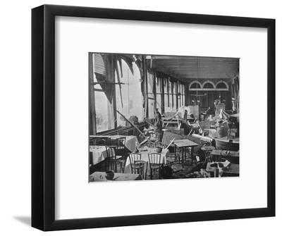 'The interior of the Grand Hotel, showing the damage done by the bombardment', 1914-Unknown-Framed Photographic Print