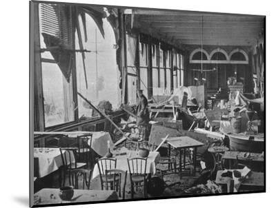 'The interior of the Grand Hotel, showing the damage done by the bombardment', 1914-Unknown-Mounted Photographic Print