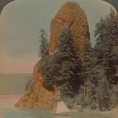 Rooster Rock, curious rock formation along the Columbia River, Oregon', 1902-Elmer Underwood-Framed Photographic Print