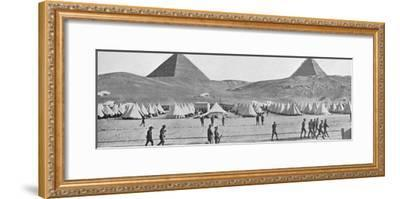 'The Australian troops in Egypt encamped near the Pyramids', 1914-Unknown-Framed Photographic Print