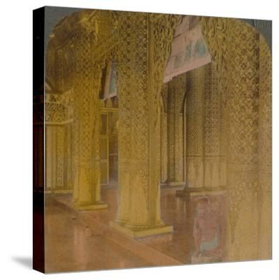 'Buddhist temple interior with costly decorations in gold and colors, Moulmein, Burma', 1907-Elmer Underwood-Stretched Canvas Print