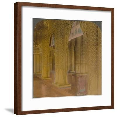 'Buddhist temple interior with costly decorations in gold and colors, Moulmein, Burma', 1907-Elmer Underwood-Framed Photographic Print
