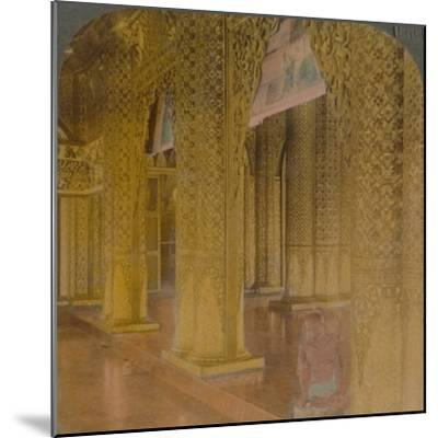 'Buddhist temple interior with costly decorations in gold and colors, Moulmein, Burma', 1907-Elmer Underwood-Mounted Photographic Print