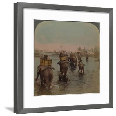 'Returning to camp after a day's shoot, Bebar jungle, India', 1909-Elmer Underwood-Framed Photographic Print