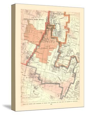 Guildhall City of London. Plan of Wards and Parishes, 1885, (1886)-Unknown-Stretched Canvas Print