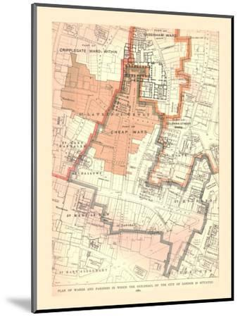 Guildhall City of London. Plan of Wards and Parishes, 1885, (1886)-Unknown-Mounted Giclee Print