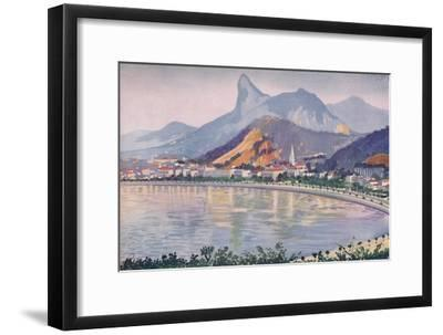 'The Botafogo portion of Rio's Bay-side Avenue, overlooked by Corcovado Mountain', 1914-Unknown-Framed Giclee Print