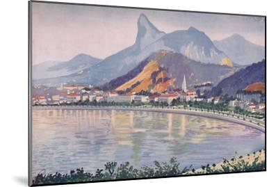 'The Botafogo portion of Rio's Bay-side Avenue, overlooked by Corcovado Mountain', 1914-Unknown-Mounted Giclee Print