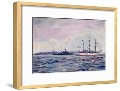 'The Benjamin Constant Training Cruiser and the dreadnought Minas Geraes in Rio Harbour', 1914-Unknown-Framed Giclee Print
