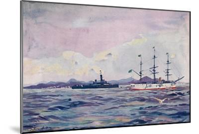'The Benjamin Constant Training Cruiser and the dreadnought Minas Geraes in Rio Harbour', 1914-Unknown-Mounted Giclee Print