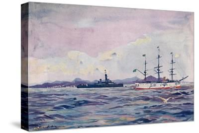 'The Benjamin Constant Training Cruiser and the dreadnought Minas Geraes in Rio Harbour', 1914-Unknown-Stretched Canvas Print