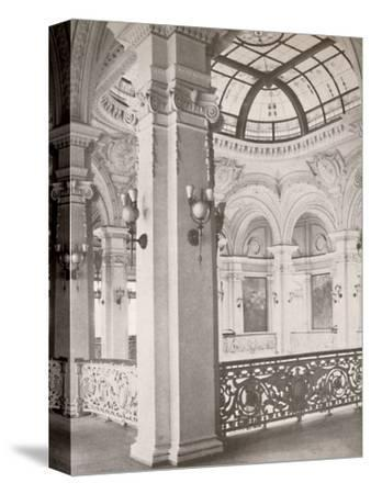 'National Library: a corner of the gallery overlooking the public reading hall', 1914-Unknown-Stretched Canvas Print