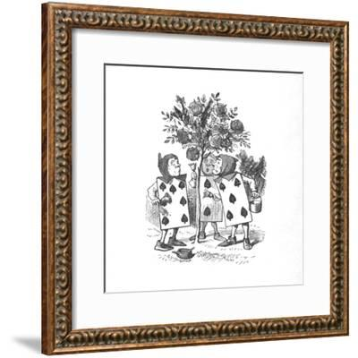 'The Playing cards painting the Rose Bushes', 1889-John Tenniel-Framed Giclee Print