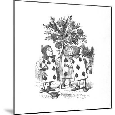 'The Playing cards painting the Rose Bushes', 1889-John Tenniel-Mounted Giclee Print