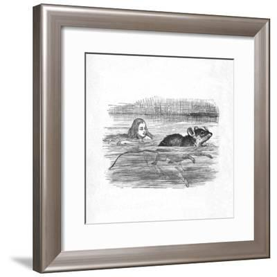 'Alice swimming with a mouse in a pool', 1889-John Tenniel-Framed Giclee Print