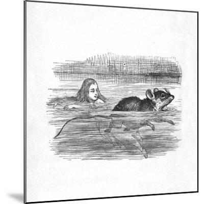 'Alice swimming with a mouse in a pool', 1889-John Tenniel-Mounted Giclee Print