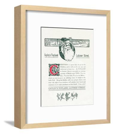 'Christmas Advert For Cayley's Toyland', 1917-Unknown-Framed Giclee Print