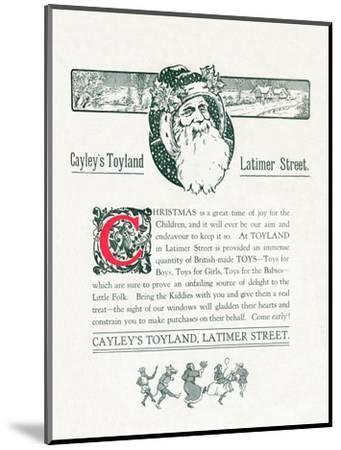 'Christmas Advert For Cayley's Toyland', 1917-Unknown-Mounted Giclee Print