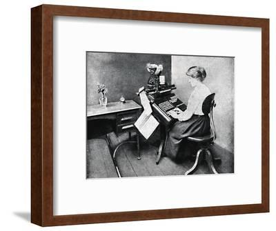 'Woman Operator on Monotype Keyboard', 1917-Unknown-Framed Photographic Print