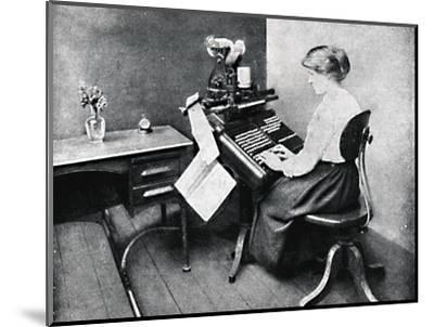 'Woman Operator on Monotype Keyboard', 1917-Unknown-Mounted Photographic Print