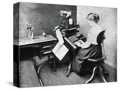 'Woman Operator on Monotype Keyboard', 1917-Unknown-Stretched Canvas Print