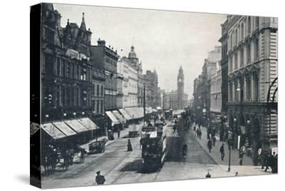 'High Street, Belfast, showing the Albert Memorial in the distance', 1917-Unknown-Stretched Canvas Print