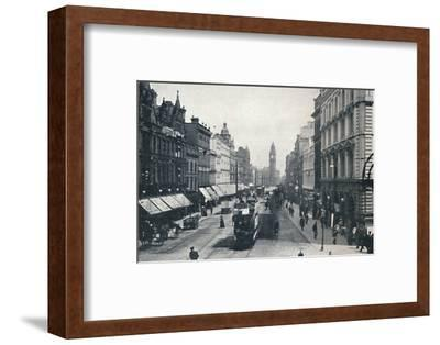 'High Street, Belfast, showing the Albert Memorial in the distance', 1917-Unknown-Framed Photographic Print