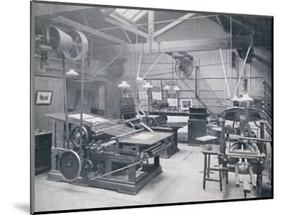 'St. Bride Foundation School. Letterpress Machine Room', 1917-Unknown-Mounted Photographic Print