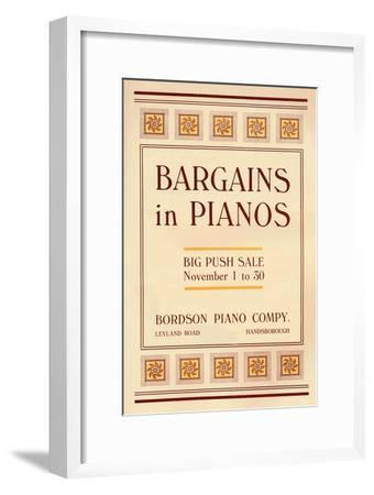'Bargains in Pianos - Bordson Piano Company's advert', 1916-Unknown-Framed Giclee Print