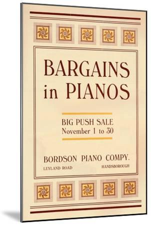 'Bargains in Pianos - Bordson Piano Company's advert', 1916-Unknown-Mounted Giclee Print
