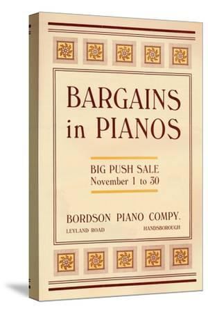 'Bargains in Pianos - Bordson Piano Company's advert', 1916-Unknown-Stretched Canvas Print