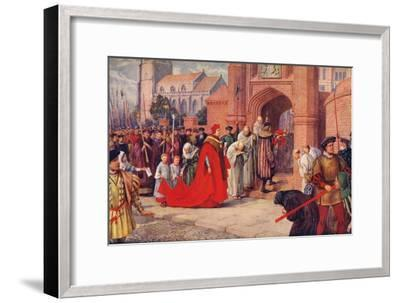 'Cardinal Wolsey possibly entering Hampton Court Palace', 1917-Unknown-Framed Giclee Print