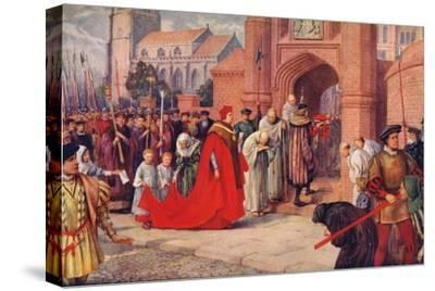 'Cardinal Wolsey possibly entering Hampton Court Palace', 1917-Unknown-Stretched Canvas Print