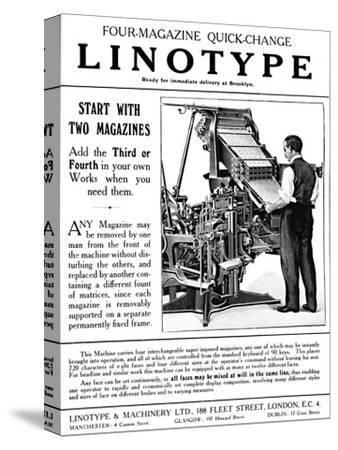 'Linotype & Machinery Ltd. advert', 1919-Unknown-Stretched Canvas Print