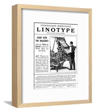 'Linotype & Machinery Ltd. advert', 1919-Unknown-Framed Giclee Print