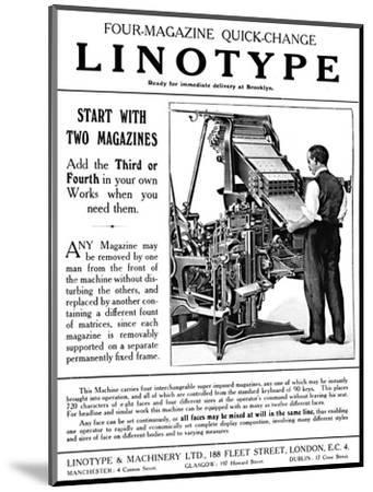 'Linotype & Machinery Ltd. advert', 1919-Unknown-Mounted Giclee Print