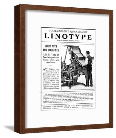 'Linotype & Machinery Ltd  advert', 1919 Giclee Print by Unknown | Art com