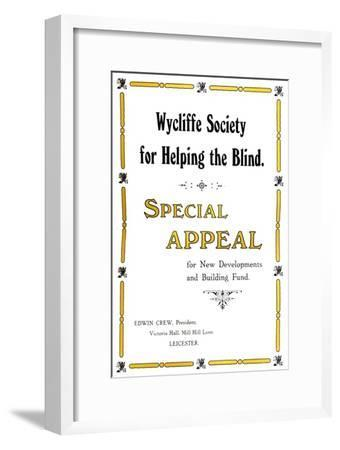 'Wycliffe Society for Helping the Blind', 1919-Unknown-Framed Giclee Print
