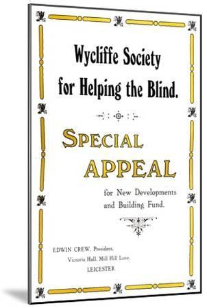 'Wycliffe Society for Helping the Blind', 1919-Unknown-Mounted Giclee Print