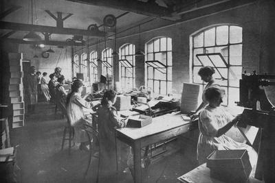 'In the Box Factory', 1919-Unknown-Framed Photographic Print