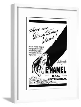 'E. Hamel & Co. advert - There are busy times ahead!', 1919-Unknown-Framed Giclee Print