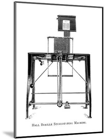 'Hall Braille Stereotyping Machine', 1919-Unknown-Mounted Giclee Print
