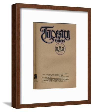 'Tapestry Covers - G. F. Smith (London) Limited advert', 1919-Unknown-Framed Giclee Print