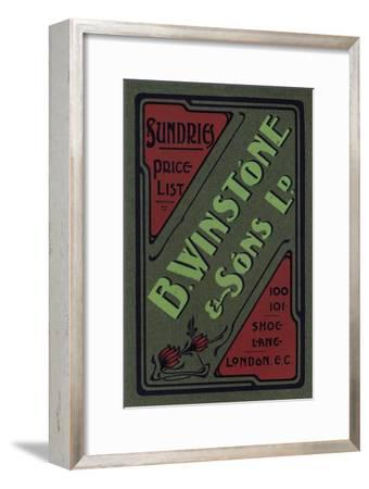 'B. Winstone & Sons Ltd. advertisement', 1907-Unknown-Framed Giclee Print