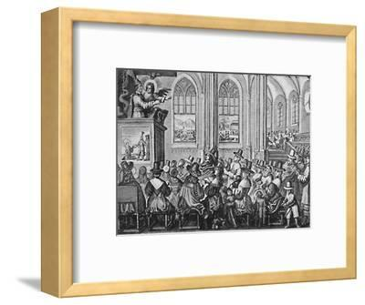 'Oliver Cromwell Preaching', c1650, (1903)-Unknown-Framed Giclee Print